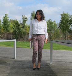 printed trousers with the white shirt