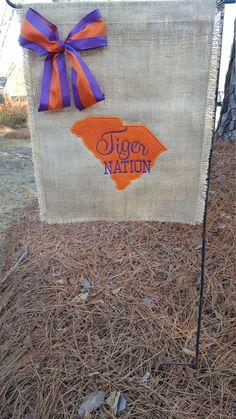 Garden Flag, Hostess Gift, Burlap Garden Flag, Clemson Flag, Tiger Nation Flag, Welcome Flag, Clemson Tailgating Flag, Clemson Garden Flag by Marijeans on Etsy