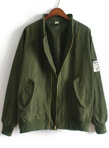 Jacke Stehkragen mit Taschen-armee grün