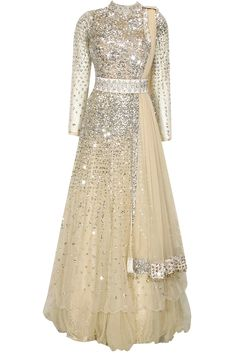 Nude beige sequins and crystal embellsihed flared gown available only at Pernia's Pop-Up Shop.