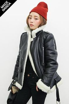 Today's Hot Pick :Textured Rider Jacket with Fur Facing http://fashionstylep.com/SFSELFAA0029698/stylenandaen/out