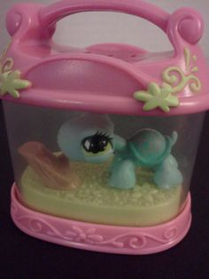 Littlest Pet Shop Turtle & Terrarium with Pink Top Handle LPS 2004 Hasbro 4+ #Hasbro