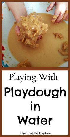 Playing with Playdough in Water. Another sensory fun idea for playing with playdough