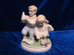 VINTAGE Porcelain Figurine Soviet girl boy dove Polonsky russian antique ussr