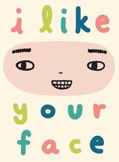 I like your face cute smile illustration happy teeth eyebrow pastel art design