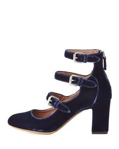 S0G7L Tabitha Simmons Ginger Velvet Three-Strap Pump, Blue  If only this came in EMERALD velvet