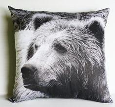 Animal pillow ,GRIZZLY BEAR pillow, animal pillow, throw pillow, eco friendly organic cotton pillow, 16x16 ,40cmx40cm via Etsy
