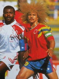 Carlos Valderrama. Freestyle hair. Mondiale 90. Italia.