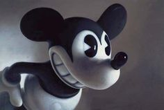 """Mouse I, by Gottfried Helnwein, Mixed media on canvas. (""""The Darker Side of Playland"""", -Childhood Imagery from the Logan Collection-) Gottfried Helnwein, Mickey Mouse, Value In Art, Hyperrealism, Event Calendar, Mixed Media Canvas, Paintings For Sale, Unique Art, Creative Art"""