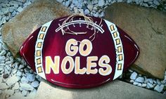 Wood football doorhanger wall hanger Go Noles metal hanger seminoles sports gifts unique one of a kind fsu fan love others available cute!