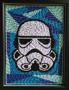 Storm trooper, star wars character, helmet, paper artwork, star wars wall art.