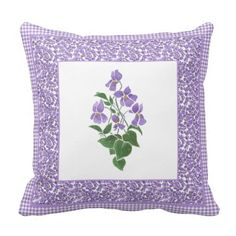 A pretty Throw Pillow or Cushion, with a motif of Violets, one of the February Birth Month Flowers, from a watercolour painting by Judy Adamson, bordered by a matching ditsy Violets Pattern and Check Gingham. For greater flexibility, the reverse of the pillow is check gingham. Part of the Posh & Painterly 'Sweet Violets' collection: up to $35.95 - http://www.zazzle.com/pretty_pillow_cushion_violets_and_check_gingham-189198967939504216?rf=238041988035411422&tc=pintw