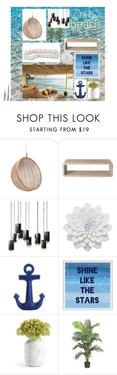 """""""modern beach house"""" by s-covacs on Polyvore featuring interior, interiors, interior design, home, home decor, interior decorating, Ciel, McGuire, Sunnylife and Green Leaf Art"""