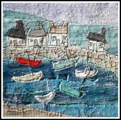 Harbour pic... Loopy Linnet #harbourminiquilt #loopylinnet #miniquilt #seasidequilt #oceanquilt #boatsquilt #Littlequilt #smallquilt