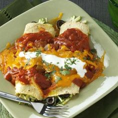 Zucchini Enchiladas Recipe from Taste of Home -- shared by Angela Leinenbach of Mechanicsville, Virginia