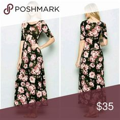 Black floral  maxi dress Trending calf length, 95 rayon 5 spandex,  absolutely flattering  to the figure. Fashionomics Dresses Maxi