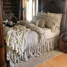 Luxury Bedding Sets For Less Shabby Chic Bedrooms, Cozy Bedroom, Bedroom Decor, Shabby Chic Bedding Sets, Farmhouse Bedding Sets, Vintage Bedding, Rustic Bedding, Boho Bedding, Ruffle Bedding