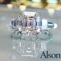 Beautiful Asscher cut engagement ring available at Alson Jewelers.