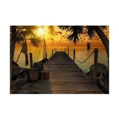 Brewster 8-918 Treasure Island Dock Wall Mural N/A Home Decor Murals ($145) ❤ liked on Polyvore featuring home, home decor, wall art, murals, wallpaper, island home decor, sea wall mural, ocean wall art, ocean wall murals and wall murals