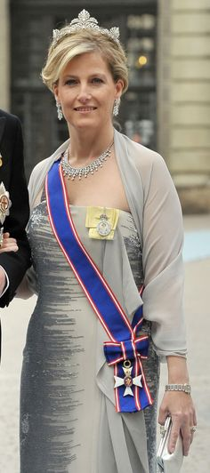 The Countess of Wessex wearing the riband of GCVO at the Swedish Royal Wedding, 2013.
