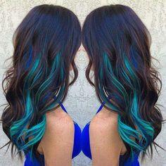 Brown hair with blue and turquoise streaks ombre hair hair c Hair Color Streaks, Hair Color Blue, Blonde Streaks, Purple Streaks, Dye My Hair, New Hair, Hair 24, Kids Dyed Hair, Dyed Hair