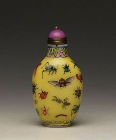 "Old Chinese Hand Painted ""Insects""  Enamel, Glass Snuff Bottle"