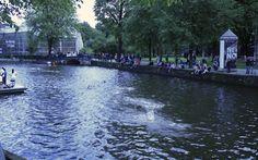 People swimming in de canals of Amsterdam [near Waterlooplein]