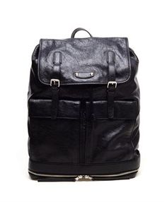 BALENCIAGA  Aged leather traveller backpack
