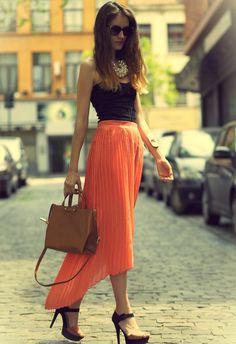 summer fashion.  #trend #summer #2014 #fashion #skirt #black #top #orange