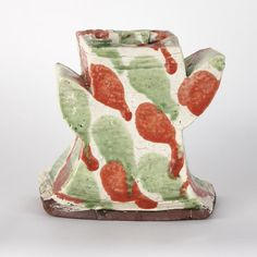 Cream Vase Winged with Red Green Splashes, 1990s