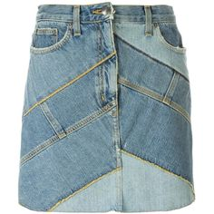 Marc By Marc Jacobs Patchwork Denim Skirt (10.242.385 VND) ❤ liked on Polyvore featuring skirts, blue, knee length denim skirt, patchwork denim skirt, marc by marc jacobs skirt, denim skirt and blue skirt