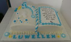 christening bible cake by katilee39 on cakecentral com cakes