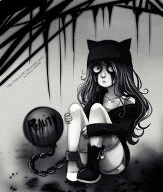 Reality - emo / gothic Anime Art - sadness, alone, kitty, hat, chained, chain, ball, scene, girl, darkness, dark, grey, sad, crying, sitting
