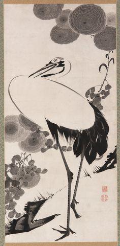 Image only. Ito Jakuchu_ Cranes. 1775-1790. Freer. Hanging scroll. Google_Art_Project.jpg (1950×3978)