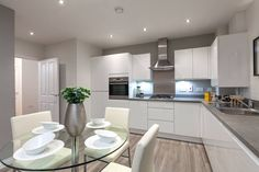 Taylor Wimpey's expert interior designers offer their advice and top tips for how to create and design a pristine and polished showhome look in any home. Grey Kitchens, Home Kitchens, Kitchen Diner Designs, Wimpey Homes, Taylor Wimpey, Open Plan Kitchen, Kitchen Ideas, Two Bedroom Apartments, Room Dimensions