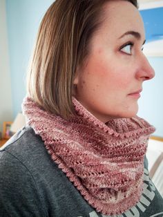 Variegated pink diagonal stripe Infinity Cowl by JenStarKnits on Etsy