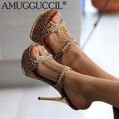 2017 New Plus Big Size 34-43 Gold Black Rhinestone Fashion Sexy High Heel Platform Summer Female Womens Lady Sandals L695