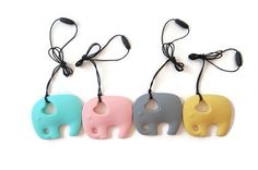 Elephant Pendant Silicone Teething Necklace Nursing Necklace SIXTEEN COLORS  -- baby, mother, teething, food grade, waterproof, nursing, teething necklace