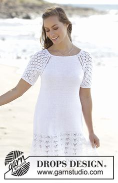 Spanish Sonata / DROPS 178-47 - Dress with raglan, A-shape and lace pattern, worked top down in Muskat. Sizes S - XXXL.