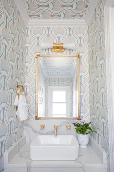 Small spaces are the perfect place to make a splash! chose the Utopia Small Double Bath Sconce by Kelly Wearstler to brighten her patterned powder room. Nate Berkus, Kelly Wearstler, Dream Bathrooms, Small Bathroom, Master Bathrooms, Bathroom Ideas, Beautiful Bathrooms, Luxury Bathrooms, Bathroom Inspiration