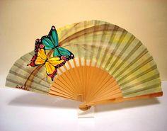 DUO MARIPOSAS Hand Held Fan, Hand Fans, Fan Decoration, Decoupage, Delicate, Super Cute, Butterfly, Fan Art, Cool Stuff