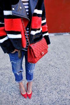 coat + red chanel + red heels