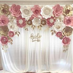 "Blush gold paper flower backdrop for engagement, bridal shower ""bride to be"" sign paper flower backdrops, paper flowers, pink and gold, baby shower"