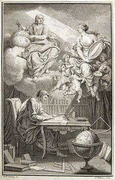 Op de voorpagina van haar vertaling van Newton wordt du Châtelet afgebeeld als de Muze van Voltaire, die het licht van Newtons hemelse inzichten met een spiegel aan Voltaire op aarde doorgeeft.