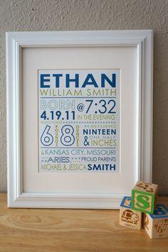 CUSTOM birth stats. baby BOY. typography birth announcement. 8x10 print. personalized nursery decor.. $21.50, via Etsy.