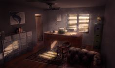 Detective office for my personnal project - photoshop on a 3D blockmesh
