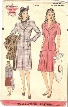1940s Misses Two Piece Suit Pattern Hollywood by CherryCorners, $25.00