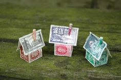 More vintage, French stamp houses, by H. Donohue. *Would make a cute mobile.