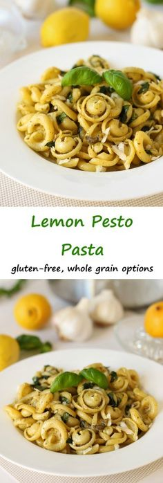 Quick and easy, this lemon pesto pasta is perfect for a busy week night. Can be made gluten-free or 100% whole grain, if desired.