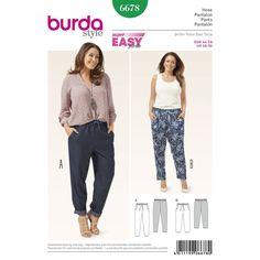 Burda Style Trousers 6678 - The Foldline Burda Sewing Patterns, Plus Size Sewing Patterns, Clothing Patterns, Dress Patterns, Shirt Patterns, Coat Patterns, Pattern Drafting, Sewing Pants, Sewing Clothes